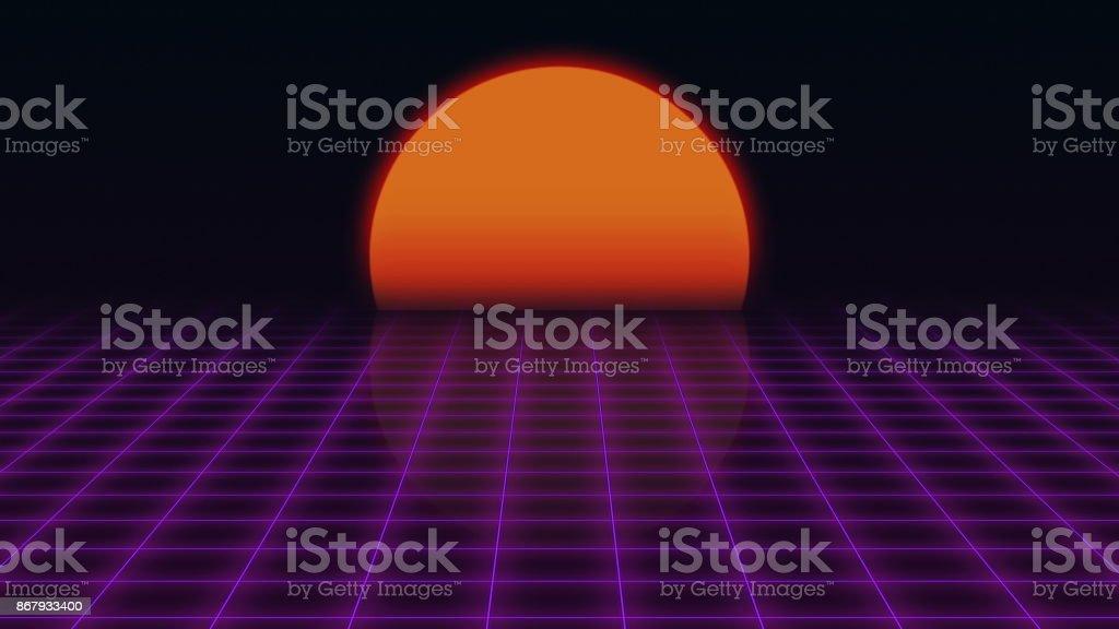 Retro Futuristic.Grid and sunset. 80s Retro Sci-fi background stock photo