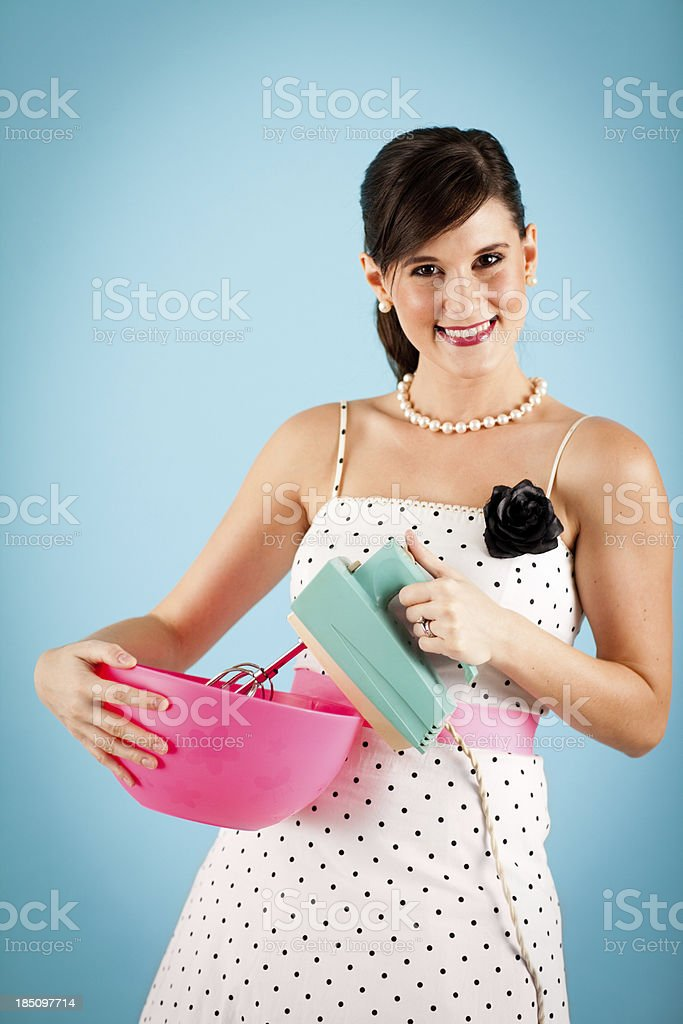 Retro Gal Holding Vintage Electric Mixer and Mixing Bowl royalty-free stock photo