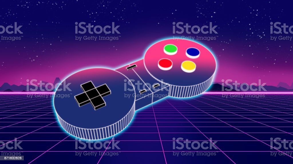 retro game controller on colorful background 3d illustration stock photo