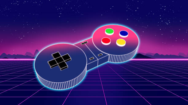 retro game controller on colorful background 3d illustration - esports stock photos and pictures
