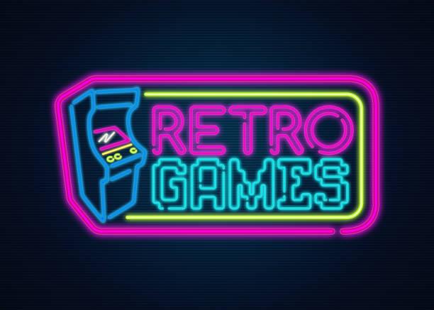 Retro games neon sign stock photo