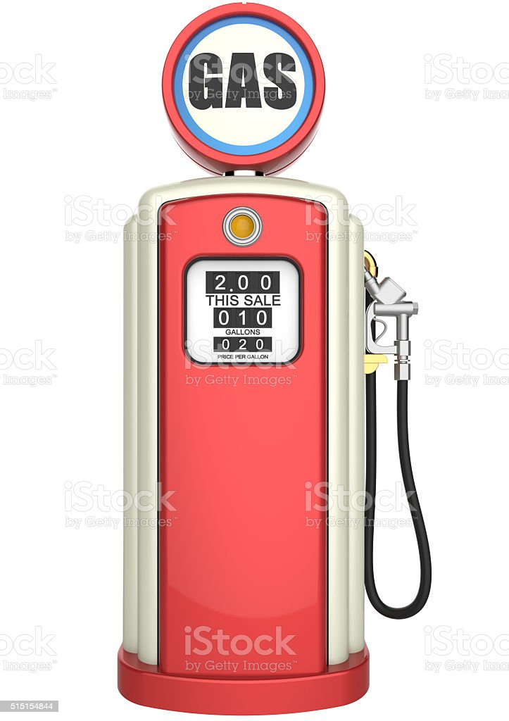 Retro Gas Pump 3d Render Stock Photo - Download Image Now