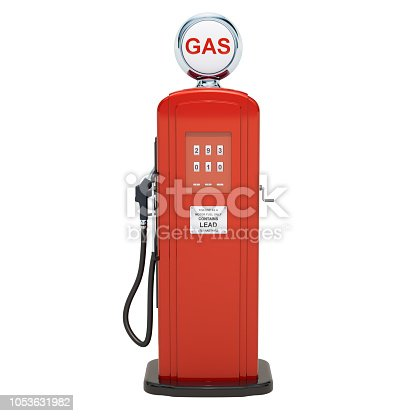 Retro Gas Pump. 3D rendering isolated on white background