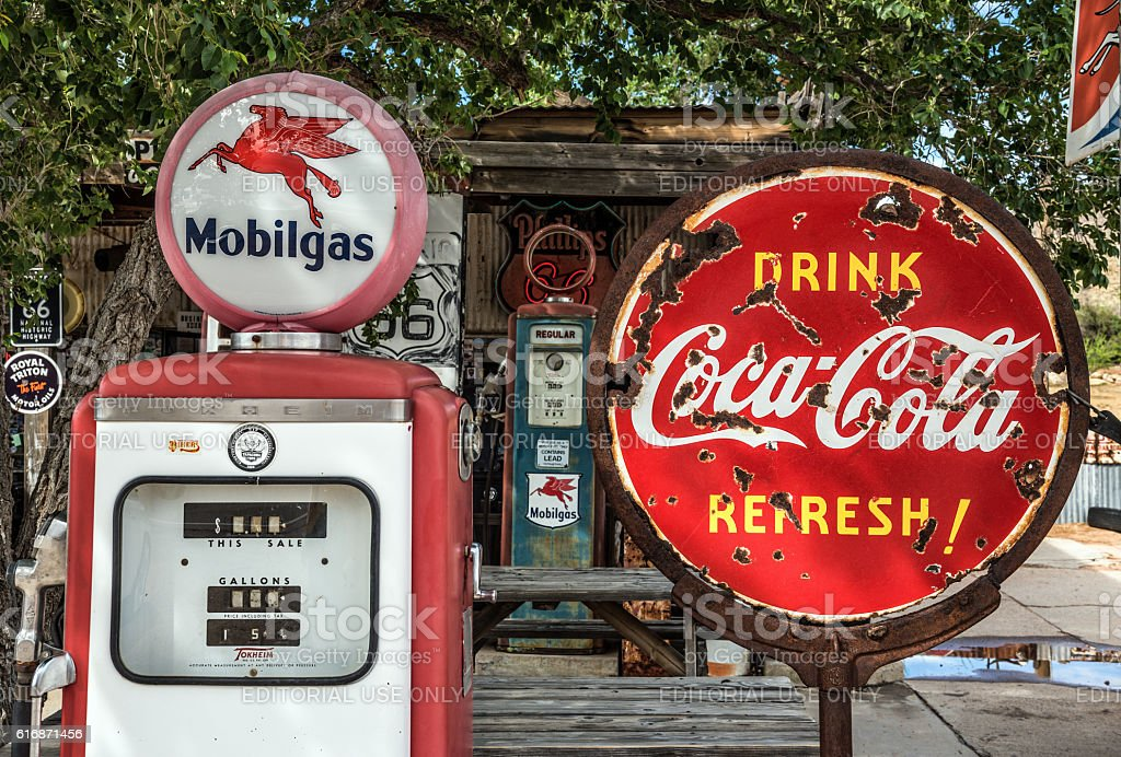 Retro gas pump and a coca-cola sign  on Route 66 stock photo