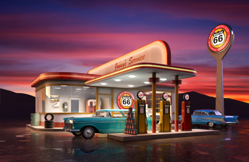 Retro American gas station at dusk