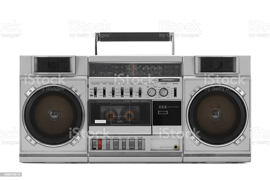Retro-ghetto blaster, isoliert auf weiss Mit clipping path – Foto