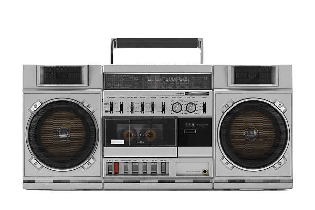 Retro ghetto blaster isolated on white with clipping path Retro ghetto blaster isolated on white with clipping path stereo stock pictures, royalty-free photos & images