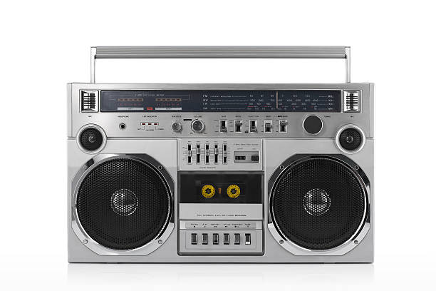 Retro ghetto blaster isolated on white with clipping path Retro ghetto blaster isolated on white with clipping path audio cassette stock pictures, royalty-free photos & images