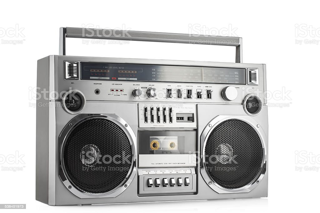 Retro ghetto blaster isolated on white with clipping path stock photo