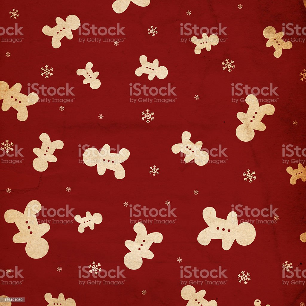 Retro Gingerbread Christmas Paper royalty-free stock photo