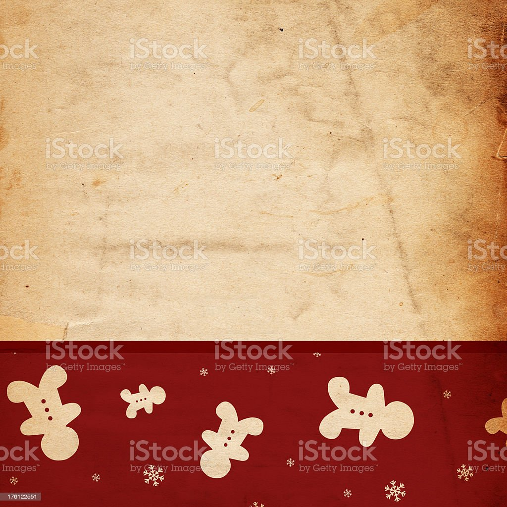 Retro Gingerbread Christmas Paper stock photo
