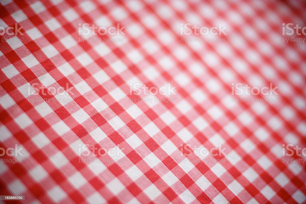 Retro Gingham Tablecloth Red and White Checks Full Frame royalty-free stock photo