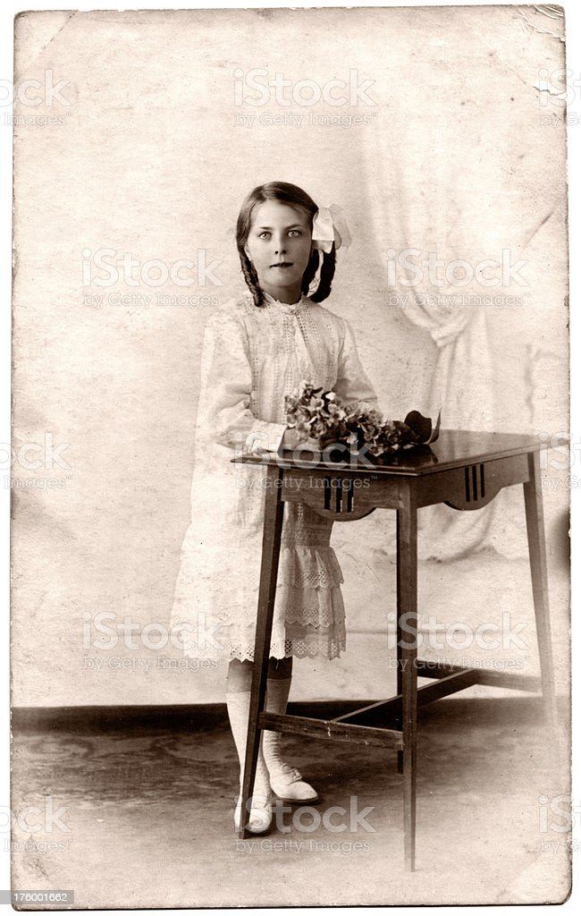 Retro Girl Old photograph of a young girl from the late Victorian / early Edwardian era. 19th Century Style Stock Photo