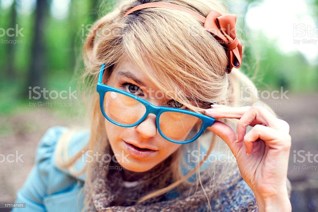 Retro girl with glasses stock photo