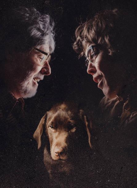 glamour retro tiro de par y pet - perros abandonados fotografías e imágenes de stock