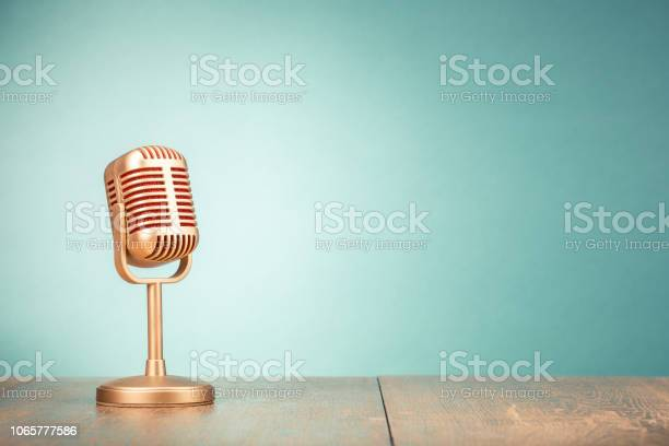 Retro golden microphone for press conference or interview on table picture id1065777586?b=1&k=6&m=1065777586&s=612x612&h=9z947n8wmu7iwtv92z9op msxaclxatiekw31lm4l2m=
