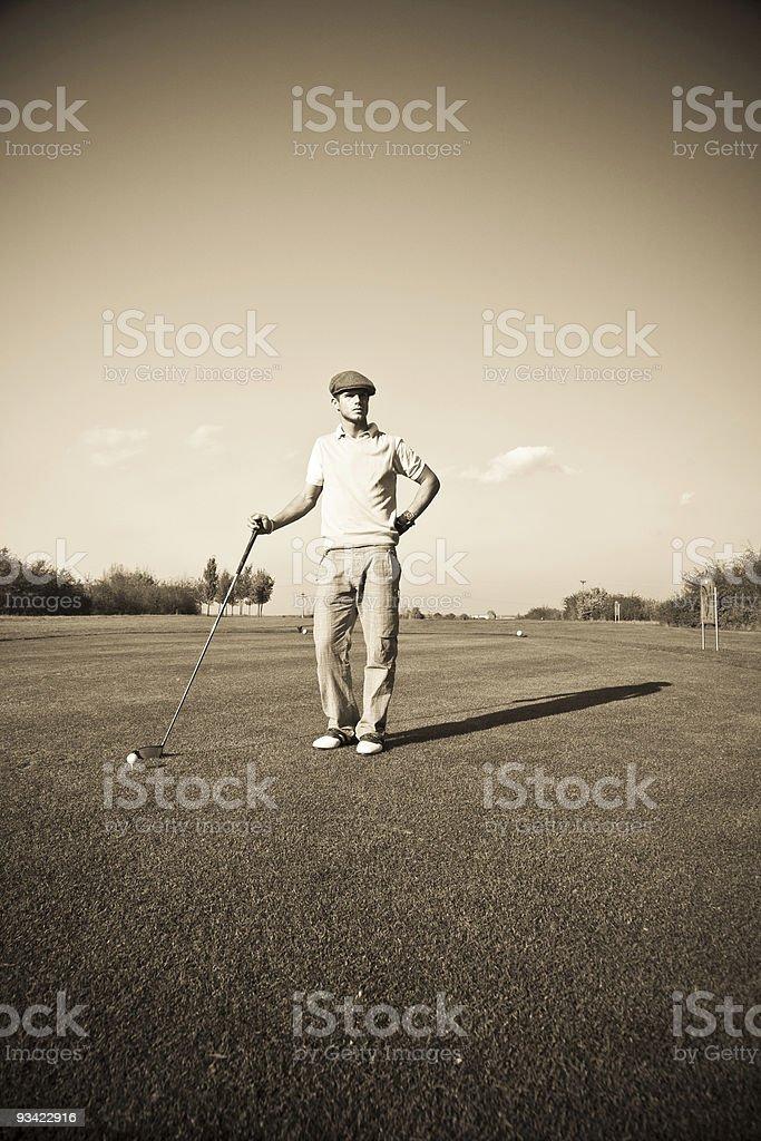 retro golfer stock photo
