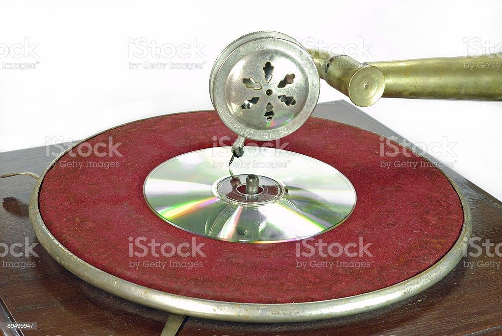 Retro gramophone with DVD royaltyfri bildbanksbilder