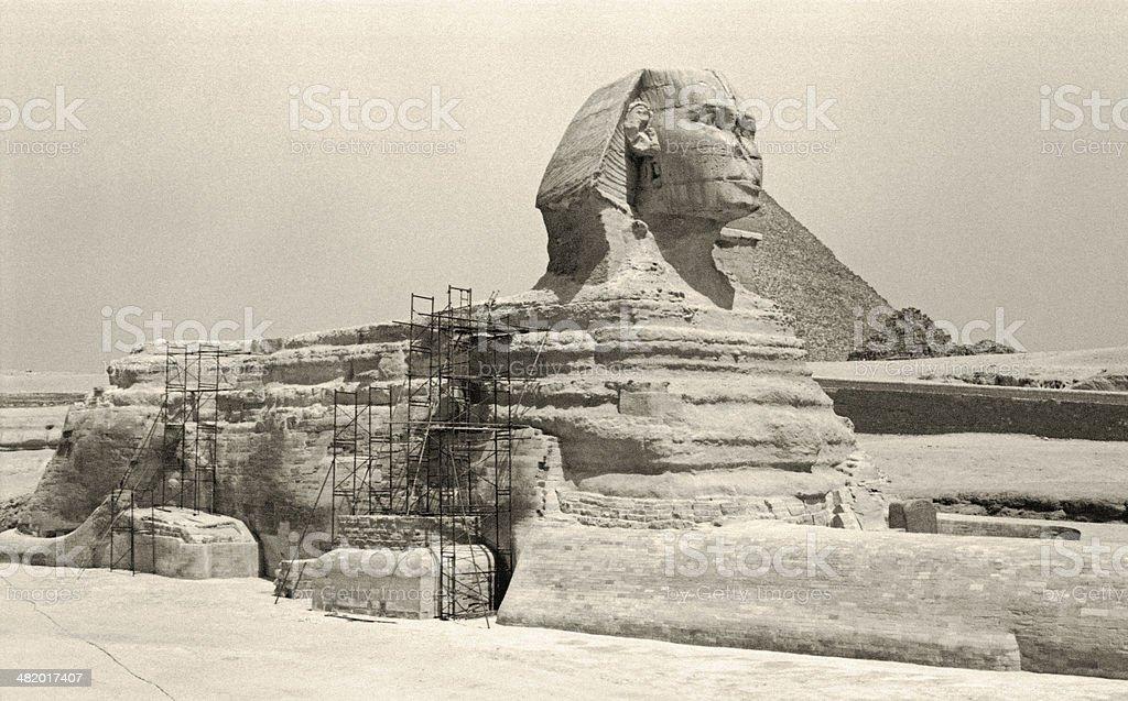Retro Great Sphinx of Giza royalty-free stock photo