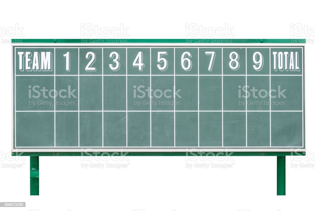 Retro Green baseball scoreboard isolated on white background stock photo