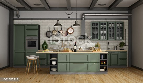 Vintage green kitchen with island in a loft - 3d rendering Note: the room does not exist in reality, Property model is not necessary