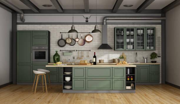 retro-grüne küche in einem alten zimmer - schrank stock-fotos und bilder