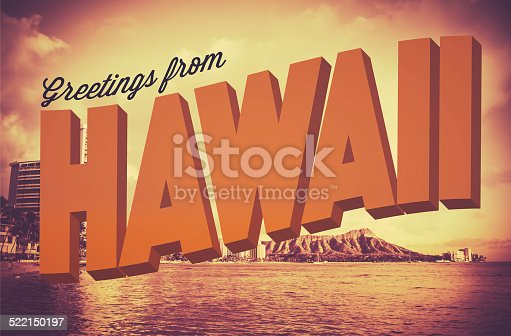 Retro Style Vintage Postcard With Greetings From Hawaii