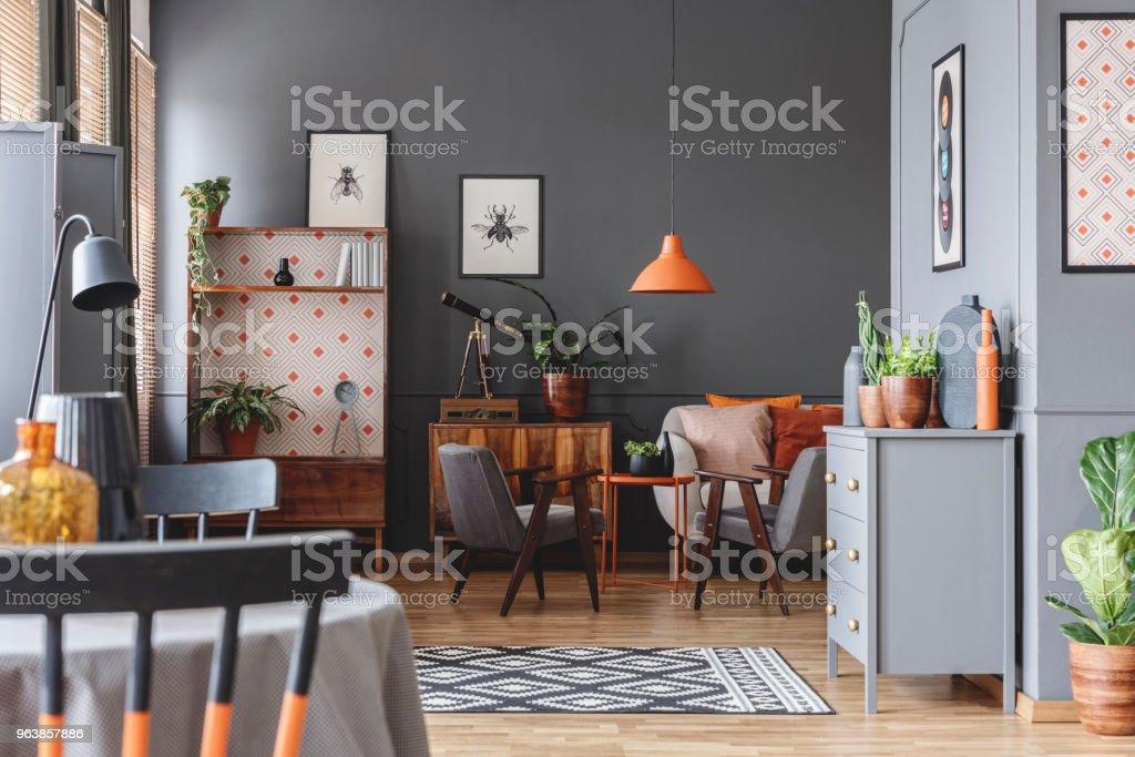 Retro grey living room interior - Royalty-free Apartment Stock Photo