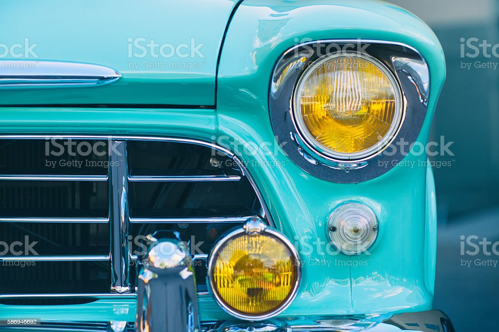Retro grille and headlight stock photo