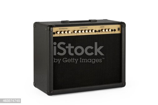 Retro guitar amplifier on white background with clipping path.
