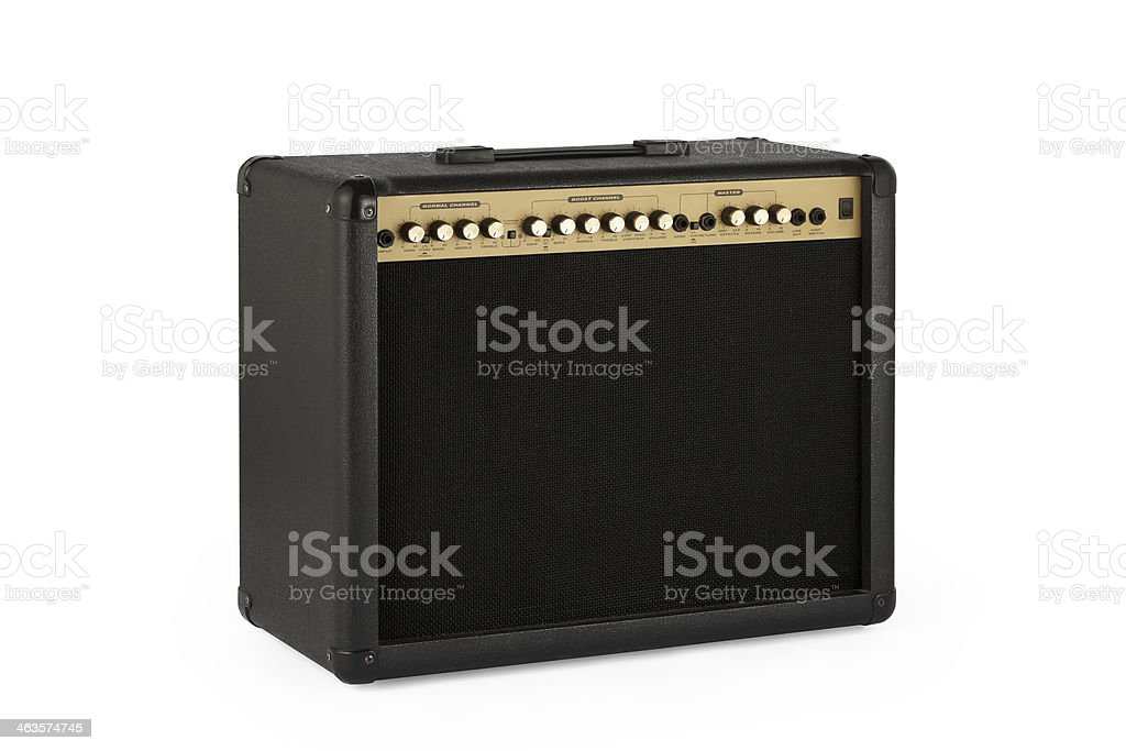 Retro Guitar Amplifier with clipping path stock photo