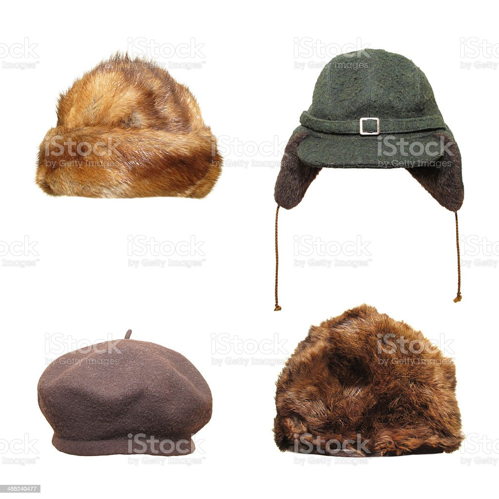 Retro hats and caps stock photo