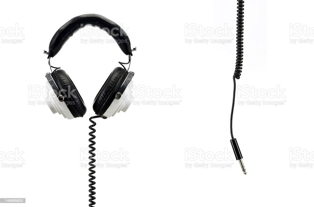 retro headphones isolated on white with jack stock photo