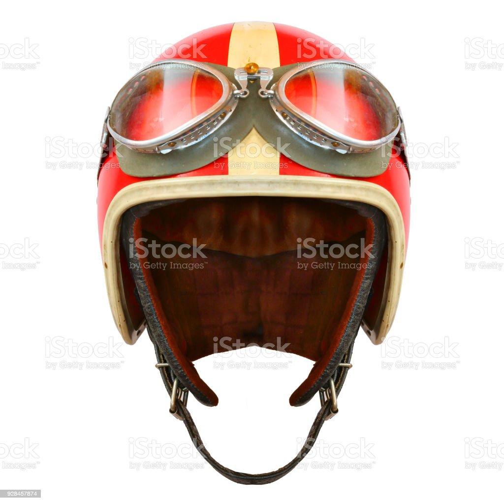 Retro-Helm mit Brille auf einem weißen Hintergrund. Schützende Kopfbedeckungen für Motorrad und Auto Rennen. – Foto