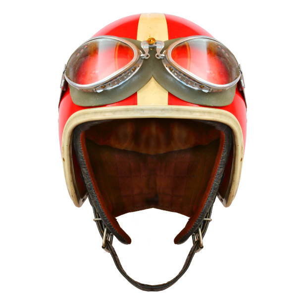 retro helmet with goggles on a white background. protective headwear for motorcycle and automobile race. - helmet motorbike imagens e fotografias de stock