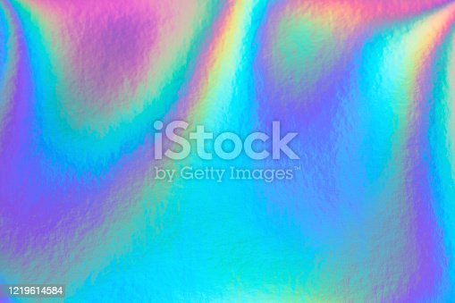 Retro holographic foil background, great design for any purposes. Abstract colorful vibrant blur iridescent gradient. Retro futuristic label design.