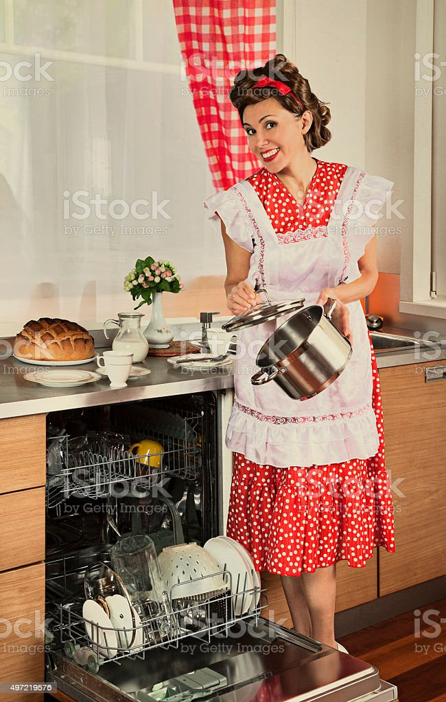 Retro housewife at home stock photo