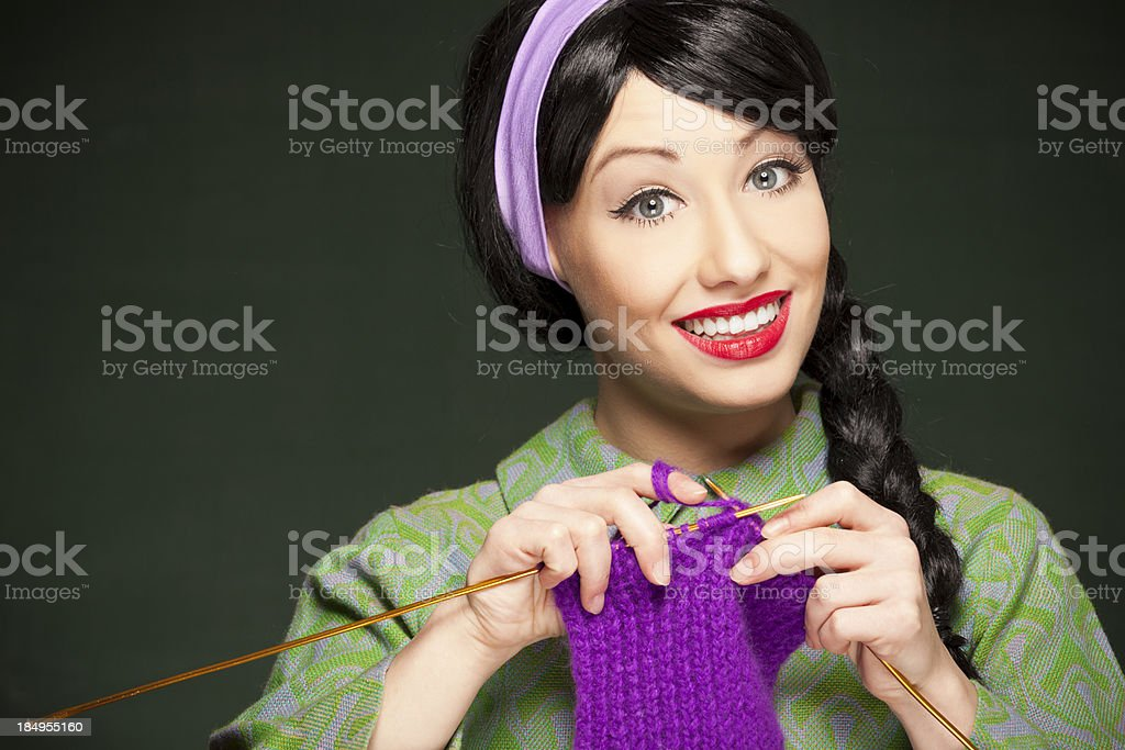 Retro housewife knitting royalty-free stock photo