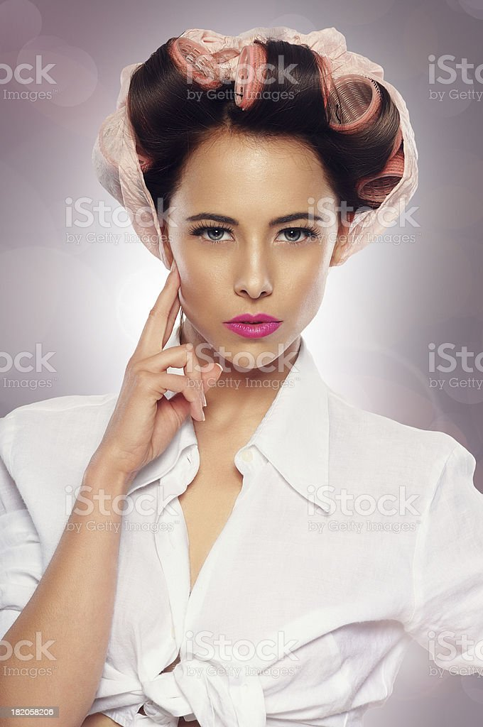 Retro housewife posing royalty-free stock photo