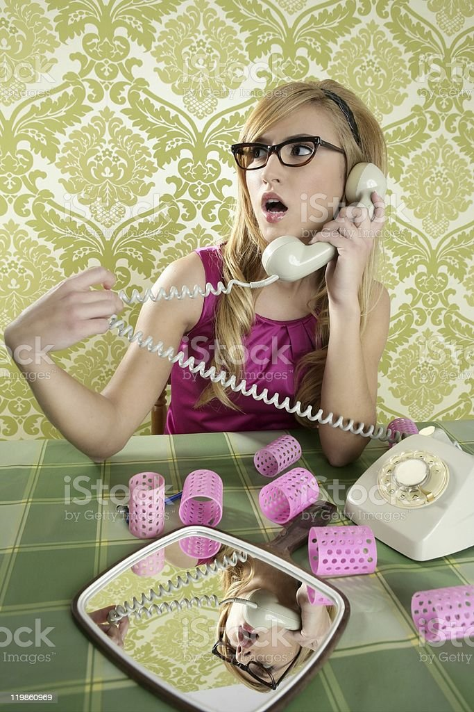 retro housewife telephone woman vintage wallpapaper royalty-free stock photo