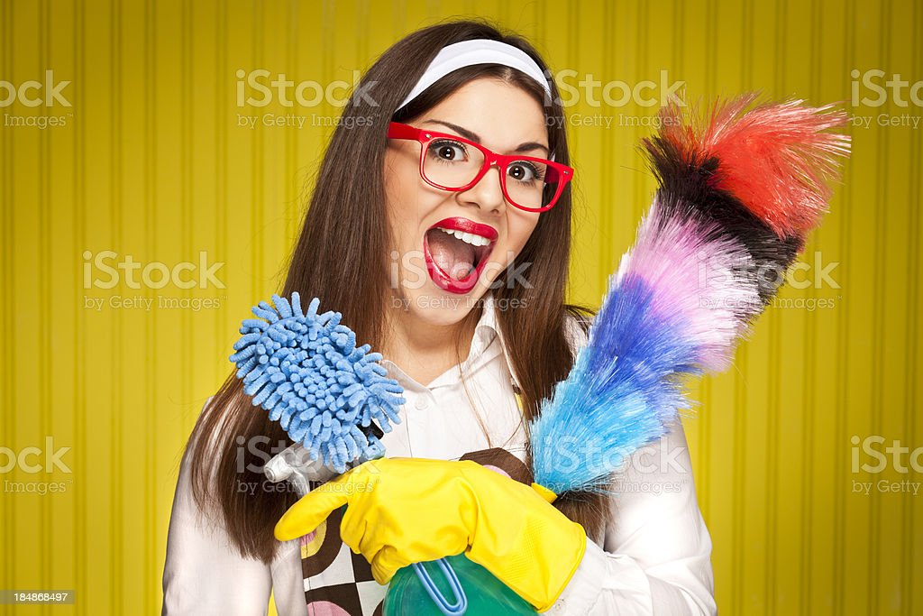 Retro housewife with cleaning utensils stock photo