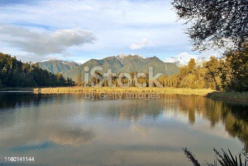 A Retro Nostalgia Inspired New Zealand Landscape of Lake Matheson.