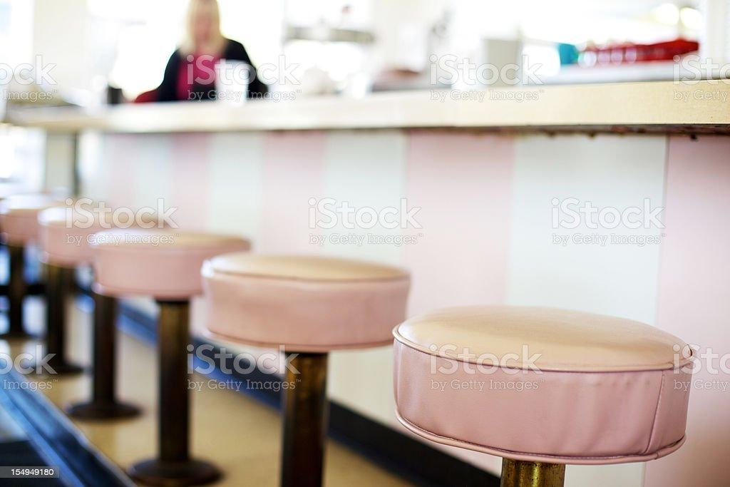 retro ice cream soda shop stools stock photo