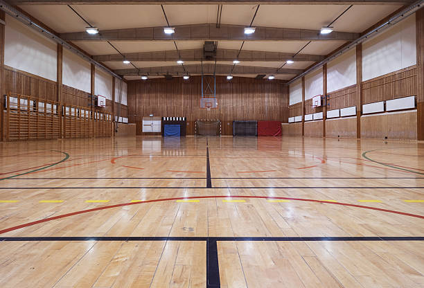 retro indoor gymnasium - handboll bildbanksfoton och bilder