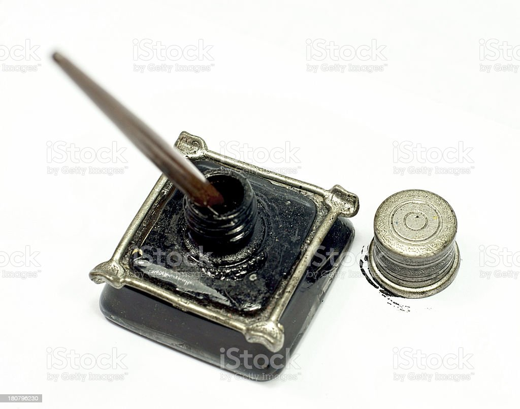 Retro ink bottle and Nib pen royalty-free stock photo