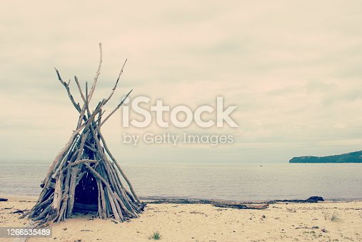 A retro inspired Driftwood Hut on Beach.