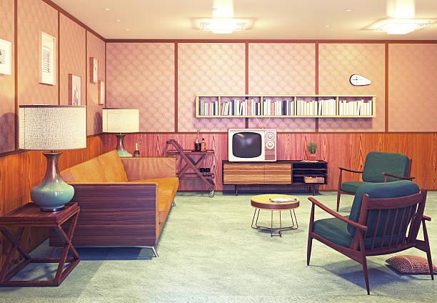 retro interior - 1970s style stock photos and pictures