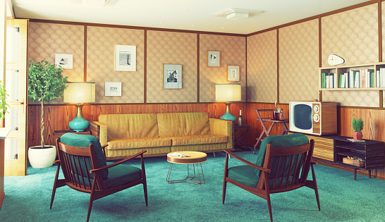 beautiful vintage interior.  3d rendering concept. Author's art used