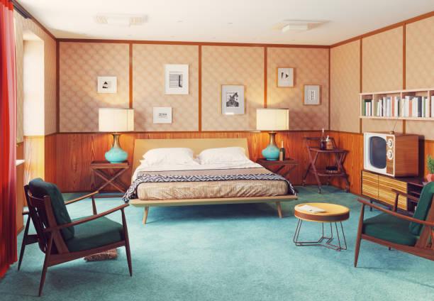 retro-innenfutter - cottage schlafzimmer stock-fotos und bilder