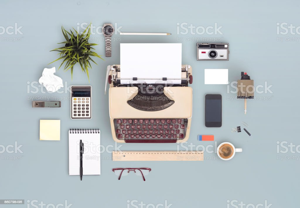 retro items office desk stock photo